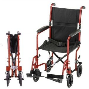 """TRANSPORT CHAIR 17"""" LTWT RED"""