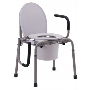 DROP ARM COMMODE GRAY